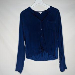 Revolve Splendid Rayon Voile Long Sleeve Top Blue